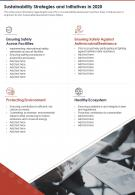 Sustainability Strategies And Initiatives In 2020 Presentation Report Infographic PPT PDF Document