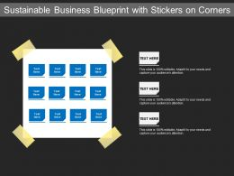 Sustainable Business Blueprint With Stickers On Corners