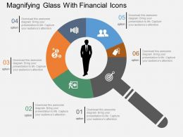 Sv Magnifying Glass With Financial Icons Flat Powerpoint Design