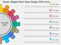 sv Seven Staged Semi Gear Design With Icons Flat Powerpoint Design