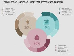 sw Three Staged Business Chart With Percentage Diagram Flat Powerpoint Design