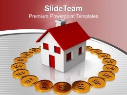 Sweet Home Surrounded By Dollar Coins Insurance Powerpoint Templates Ppt Themes And Graphics 0113