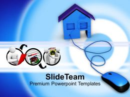 Sweet Home With Mouse On White Background Powerpoint Templates Ppt Themes And Graphics 0113