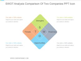 Swot Analysis Comparison Of Two Companies Ppt Icon