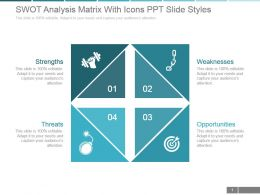 Swot Analysis Matrix With Icons Ppt Slide Styles