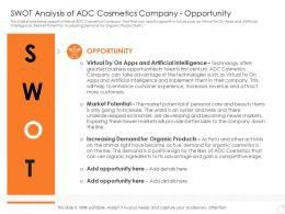 SWOT Analysis Of ADC Cosmetics Company Opportunity Latest Trends Can Provide Competitive Advantage Company