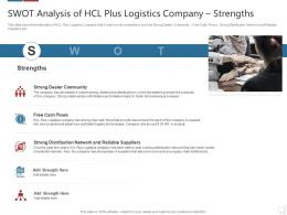 SWOT Analysis Of Hcl Plus Logistics Company Strengths Logistics Technologies Good Value Propositions Company