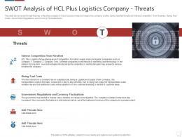 SWOT Analysis Of Hcl Plus Logistics Company Threats Logistics Technologies Good Value Propositions Company