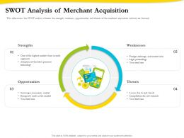 Swot Analysis Of Merchant Acquisition Ppt Powerpoint Presentation File Icon