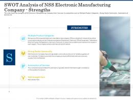 SWOT Analysis Of Nss Electronic Manufacturing Company Strengths Shortage Of Skilled Labor Ppt Template