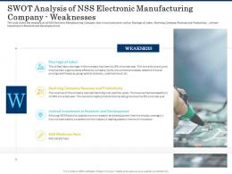 SWOT Analysis Of Nss Electronic Manufacturing Company Weaknesses Shortage Of Skilled Labor Ppt Grid