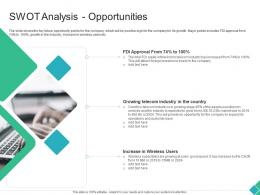 Swot Analysis Opportunities Declining Market Share Of A Telecom Company Ppt Icons