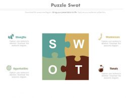 Swot Analysis Puzzle Diagram And Icons Flat Powerpoint Design
