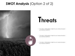 Swot Analysis Slide Threats D172 Ppt Powerpoint Presentation Gallery Diagrams