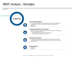 Swot Analysis Strengths Poor Network Infrastructure Of A Telecom Company Ppt Sample