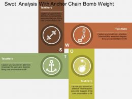 Swot Analysis With Anchor Chain Bomb Weight Flat Powerpoint Design
