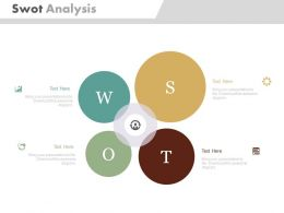 Swot Analysis With Icons For Business Flat Powerpoint Design