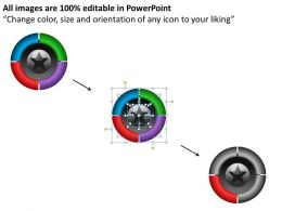 swot framework shown by 4 boxes blue red purple red and star in center powerpoint diagram templates 0712