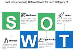Swot Icons Covering Different Icons For Each Category Of Strength Weakness Threat And Opportunities