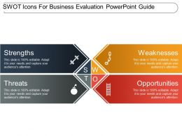 Swot Icons For Business Evaluation Powerpoint Guide