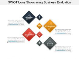 Swot Icons Showcasing Business Evaluation Example Of Ppt