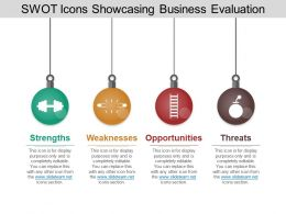 Swot Icons Showcasing Business Evaluation Powerpoint Slide Designs