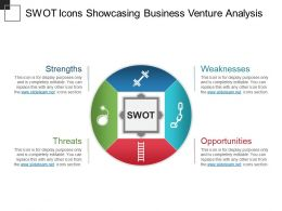 Swot Icons Showcasing Business Venture Analysis Powerpoint Slide Ideas