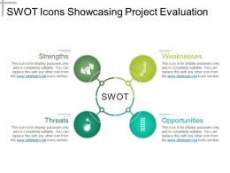 Swot Icons Showcasing Project Evaluation Powerpoint Slide Show