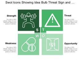 Swot Icons Showing Idea Bulb Threat Sign And Builder Signifying Strength
