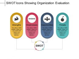 Swot Icons Showing Organization Evaluation Powerpoint Themes