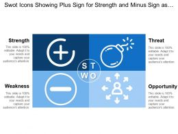 Swot Icons Showing Plus Sign For Strength And Minus Sign As Listed Weakness