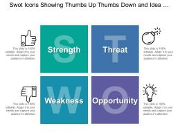 Swot Icons Showing Thumbs Up Thumbs Down And Idea Bulb For Strength And Weakness