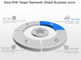 Swot With Target Teamwork Global Business Icons Powerpoint Template Slide
