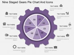 Sx Nine Staged Gears Pie Chart And Icons Flat Powerpoint Design
