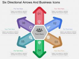 sx Six Directional Arrows And Business Icons Flat Powerpoint Design