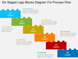sy_six_staged_lego_blocks_diagram_for_process_flow_flat_powerpoint_design_Slide01