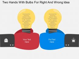 sy Two Hands With Bulbs For Right And Wrong Idea Flat Powerpoint Design