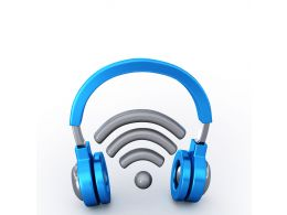 Symbol Of Wi Fi With Headphone Stock Photo