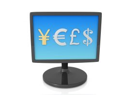 Symbol Of World Currencies On Computer Screen Stock Photo