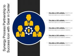 Synergy Process Partnership To Success Icon With Gear In Center