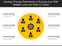 Synergy Process Partnership To Success Icon With Multiple Lines And Gear In Center