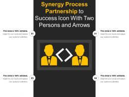 Synergy Process Partnership To Success Icon With Two Persons And Arrows