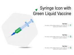 Syringe Icon With Green Liquid Vaccine