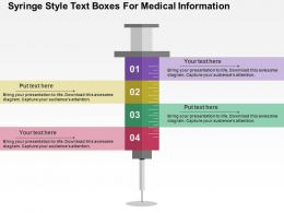 Syringe Style Text Boxes For Medical Information Flat Powerpoint Design