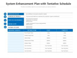 System Enhancement Plan With Tentative Schedule