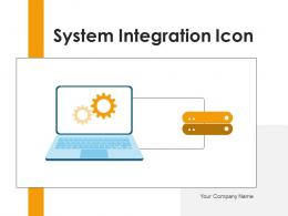 System Integration Icon Depicting Gearwheel Information Arrow Gear Connecting