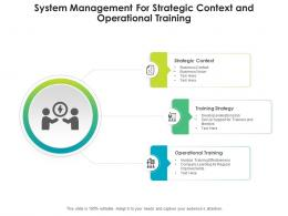 System Management For Strategic Context And Operational Training