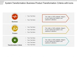 System Transformation Business Product Transformation Criteria With Icons
