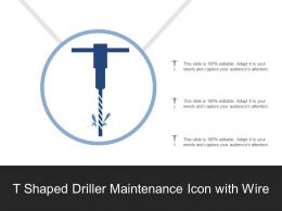 T Shaped Driller Maintenance Icon With Wire