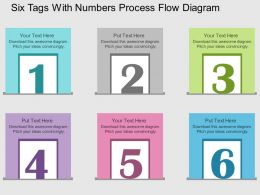 ta Six Tags With Numbers Process Flow Diagram Flat Powerpoint Design